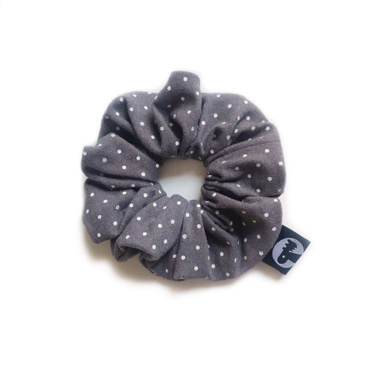 LAST CALL! Scrunchie - Grey Polka Dot