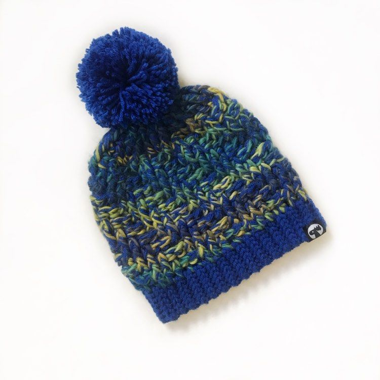 Slouchy Pom Pom Hat - Electric Blue