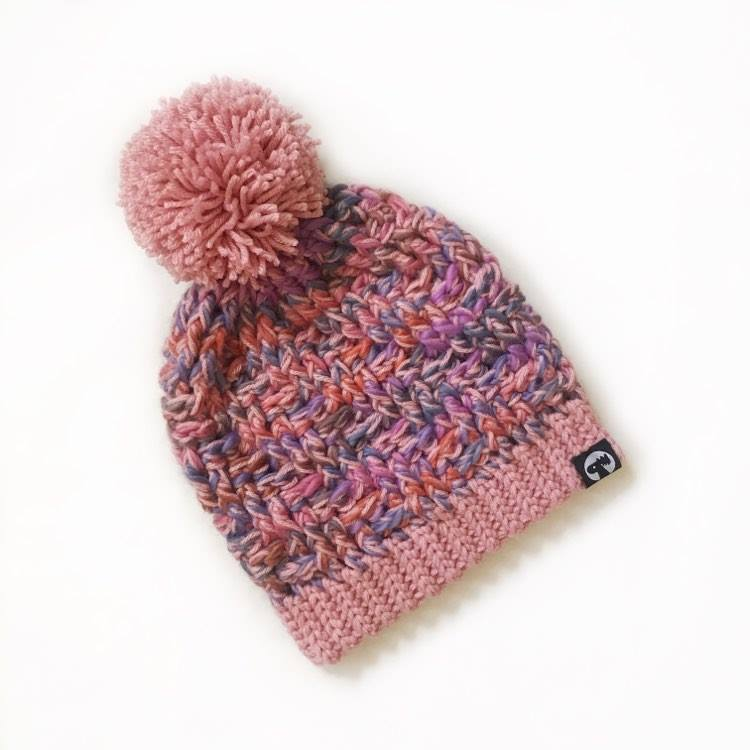 Slouchy Pom Pom Hat - Cotton Candy