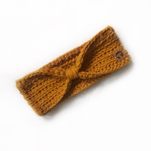 Knotted Crochet Headband - Mustard