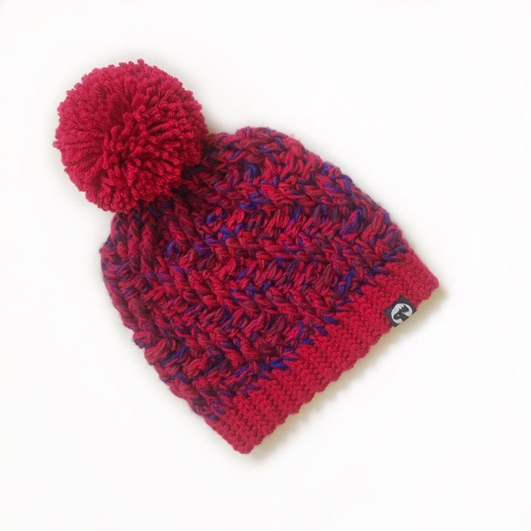 Slouchy Pom Pom Hat - Cherry Pop