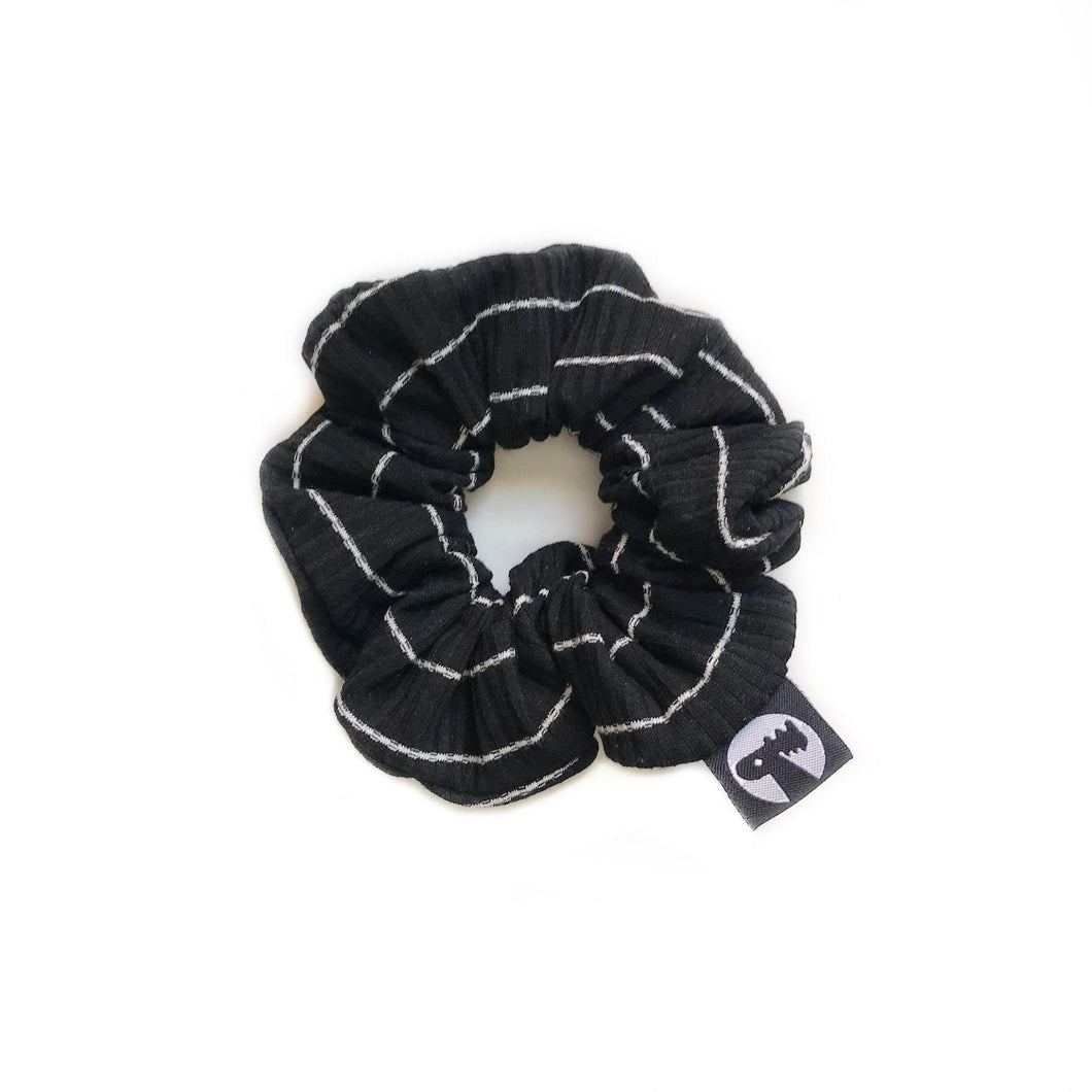 LAST CALL! Scrunchie - Black Ribbed Stripes