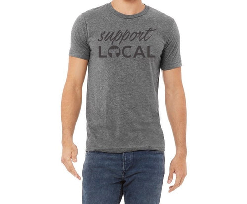 Support Local Unisex T Shirt - Monochrome Grey