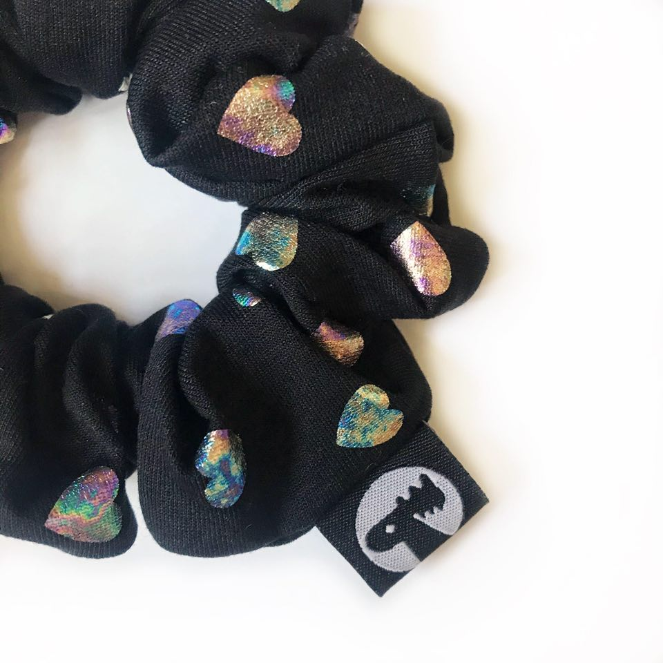 Scrunchie Single - Hologram Hearts