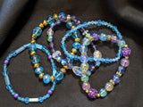 Turquoise & Purple Stretch Bracelet Set