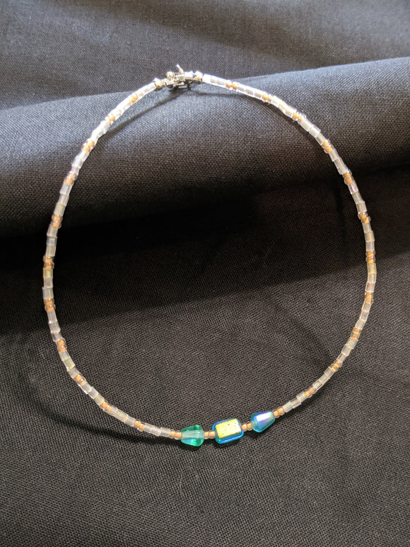 Iridescent Turquoise & Peach Anklet (T/R/T)