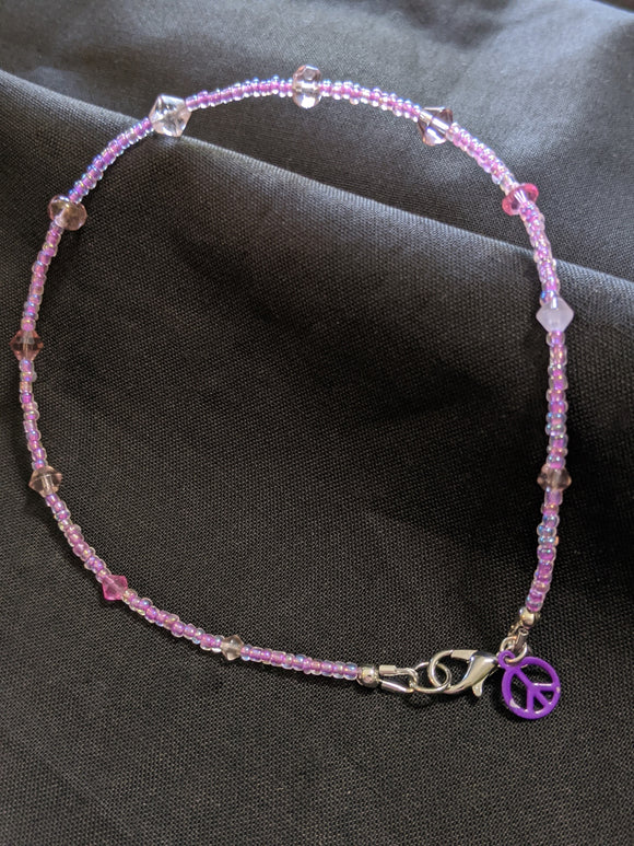 Pink Bicone Anklet