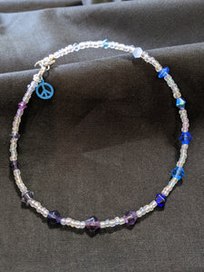 Blue & Purple Bicone Anklet