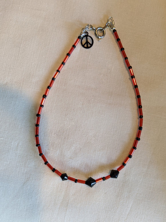 Red & Black Bicone Anklet