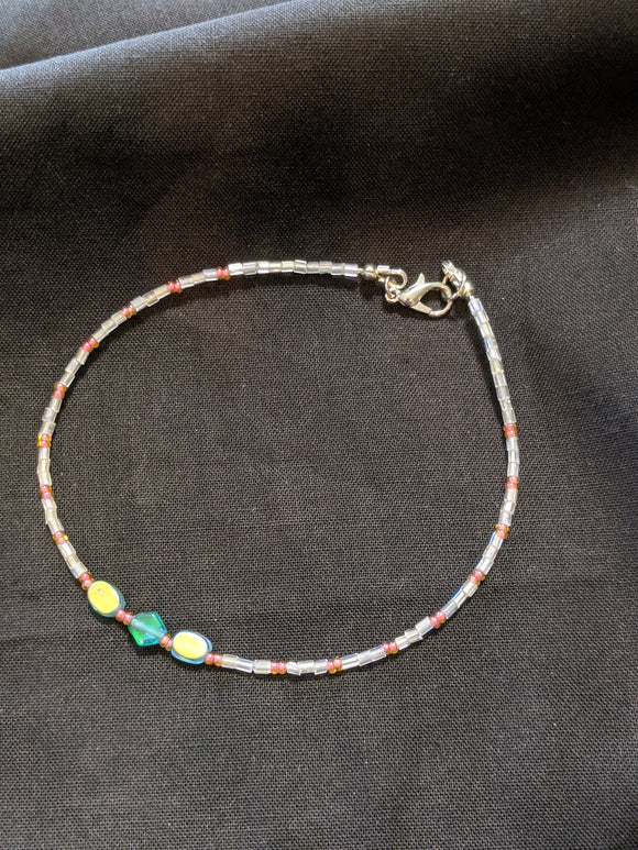 Iridescent Turquoise & Peach Anklet (O/D/O)