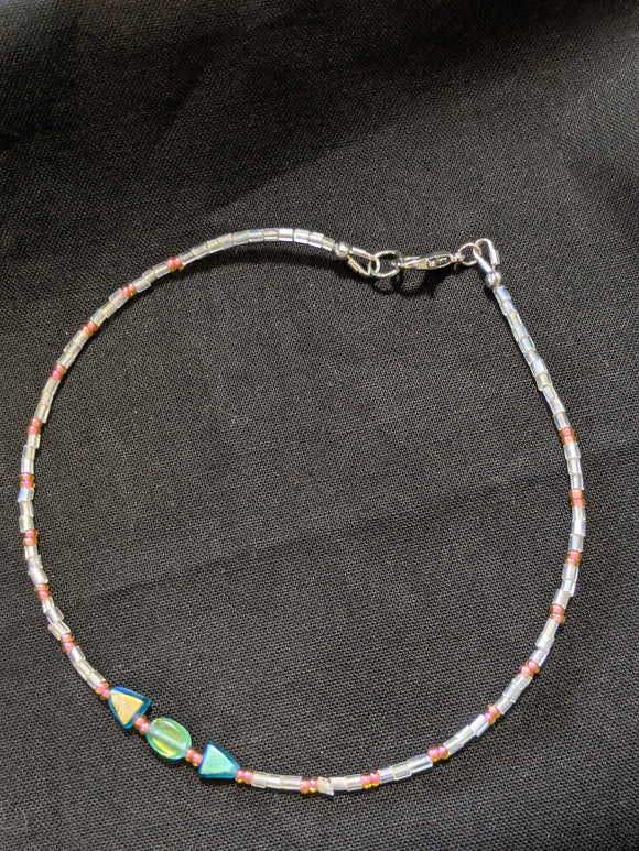 Iridescent Turquoise & Peach Anklet (T/O/T)