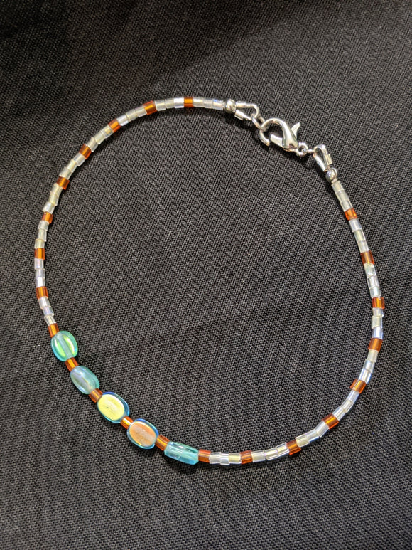 Iridescent Turquoise & Orange Anklet (5 Ovals)
