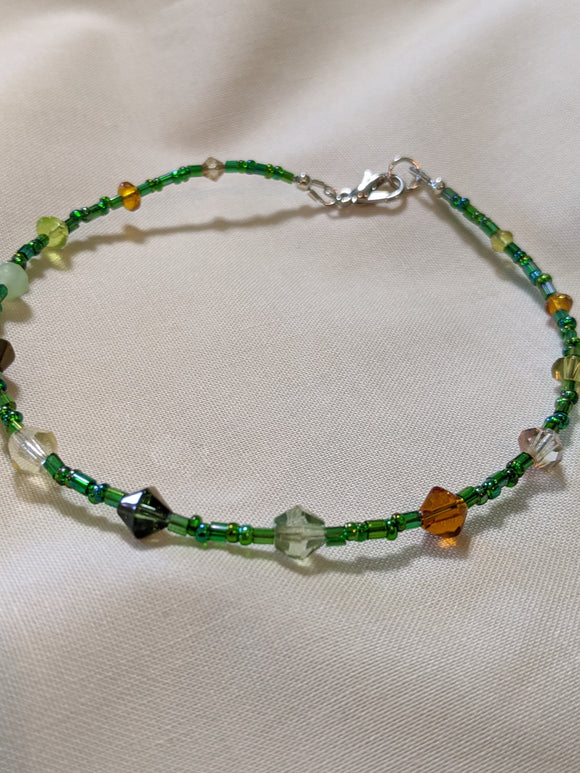Green & Yellow Bicone Anklet