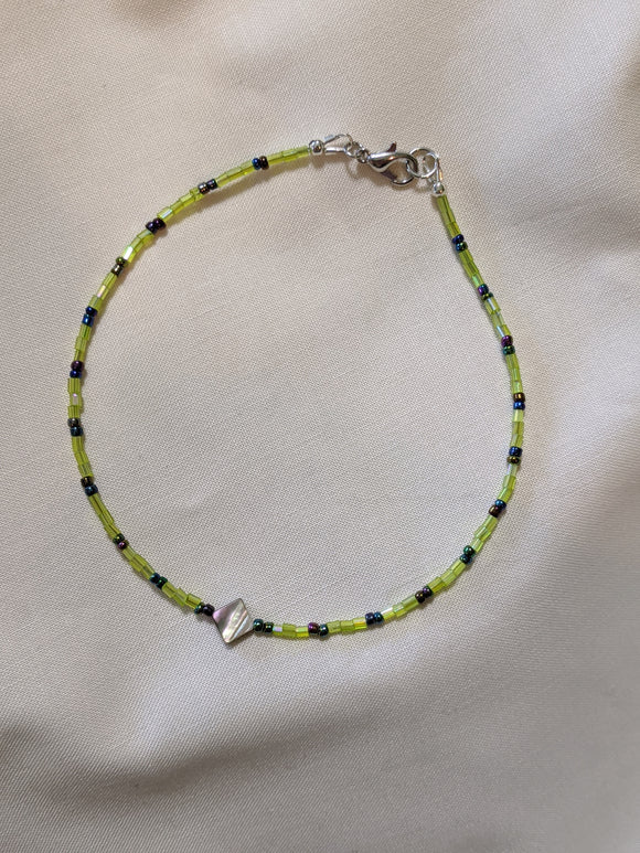 Green & Abalone Anklet