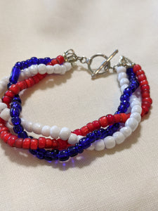 Red, White & Blue Braided Bracelet