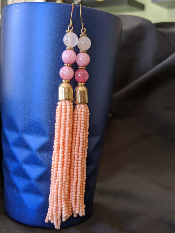 Long Rose Stone & Peach Earrings