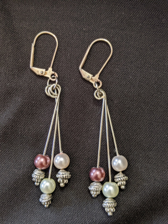 Pink Pearl & Silver Earrings