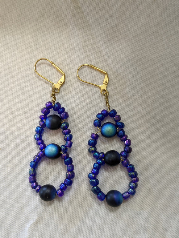 Black & Blue Iridescent Earrings
