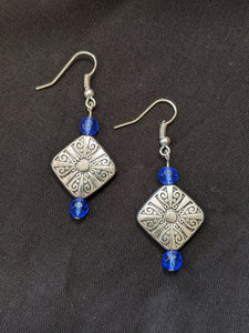 Small Blue & Silver Filigree Earrings