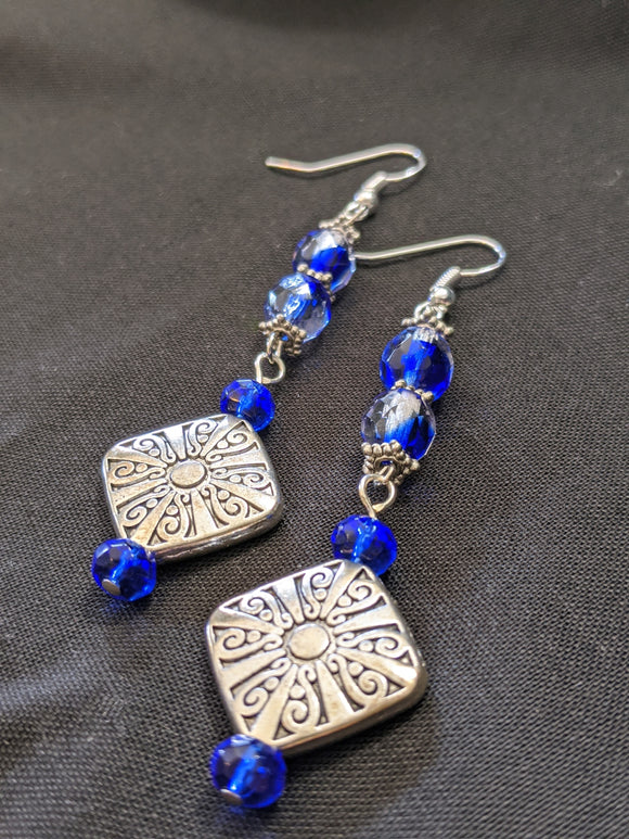 Large Blue & Silver Filigree Earrings