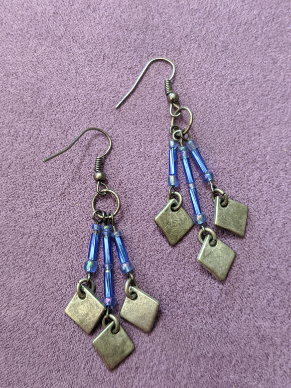 Silver & Blue Iridescent Drop Earrings