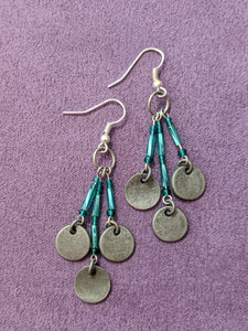 Silver & Teal Iridescent Drop Earrings