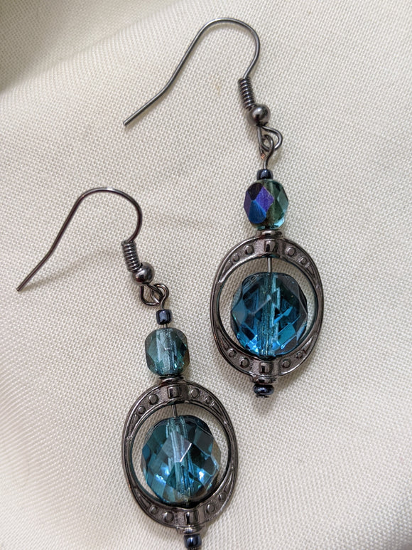Teal & Gunmetal Czech Facet Earrings