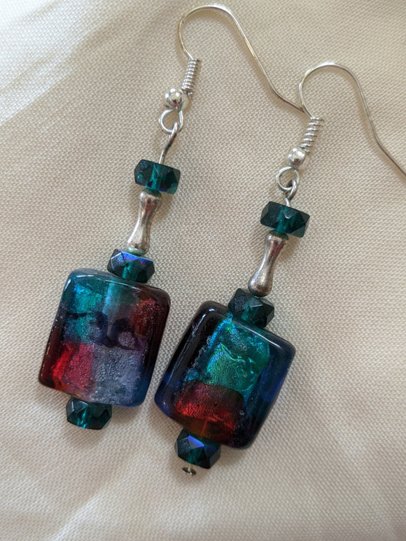 Teal & Burgundy Glass Earrings