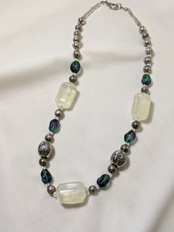Blue-Green & Silver Necklace