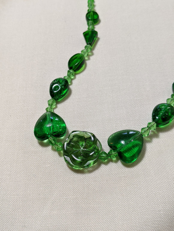 Green Hearts & Flower Glass Necklace
