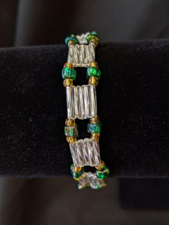 Silver & Green Seeds Ladder Bracelet
