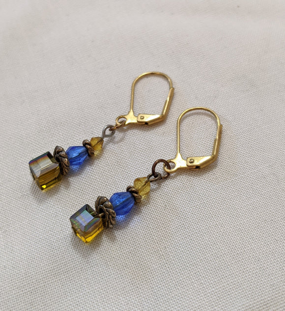 Yellow Czech Cube Earrings