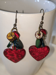 Wood Heart Earrings