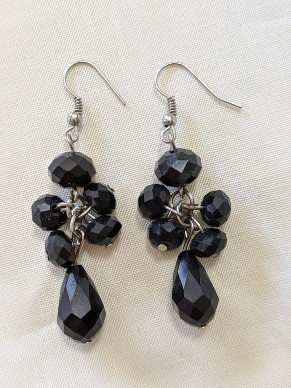 Black Drop Costume Earrings