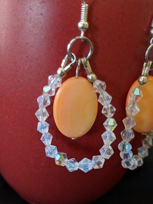 Peach/Orange Oval & Czech Bicone Earrings