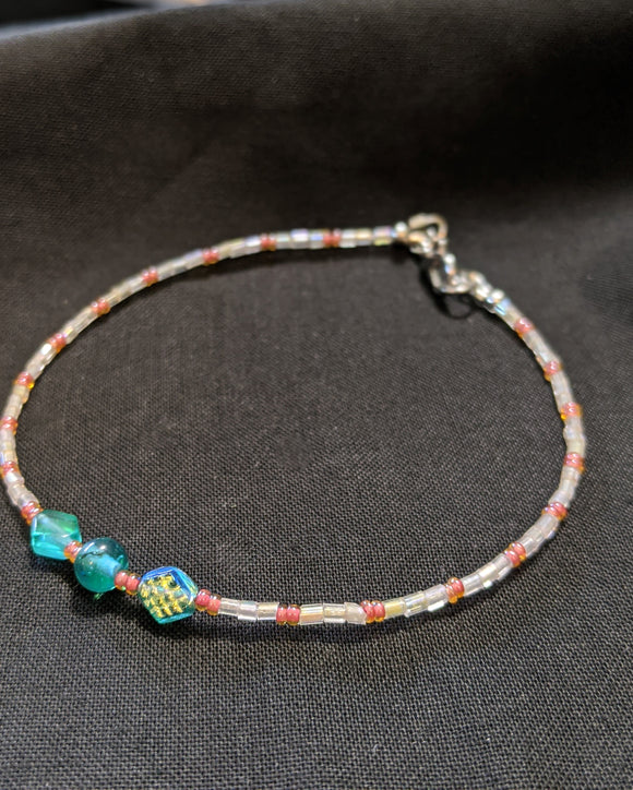 Iridescent Turquoise & Peach Anklet (D/C/D)