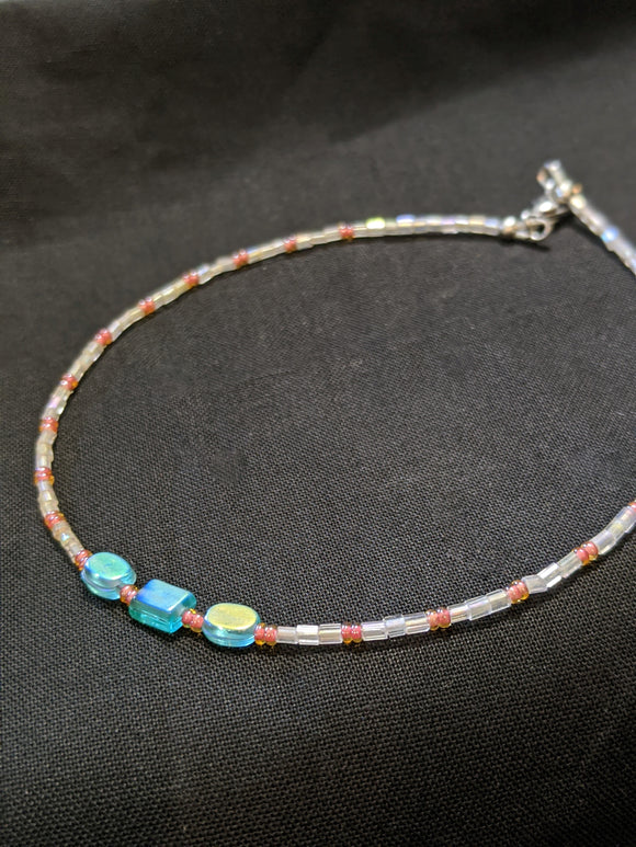 Iridescent Turquoise & Peach Anklet (O/R/O)