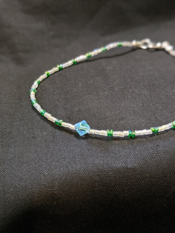 Iridescent Green & Blue Bicone Anklet
