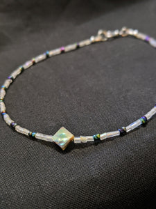 Iridescent Purple & Abalone Anklet