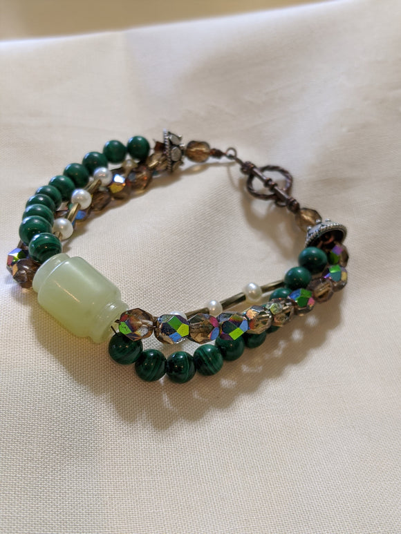 Jade, Malachite, Czech Facets and Pearl Bracelet