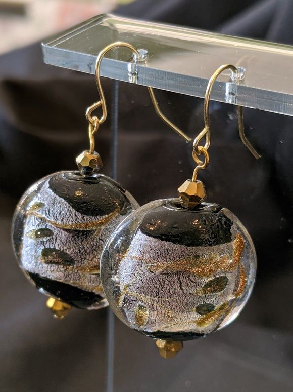 Black, Silver, Gold Glass Round Earrings