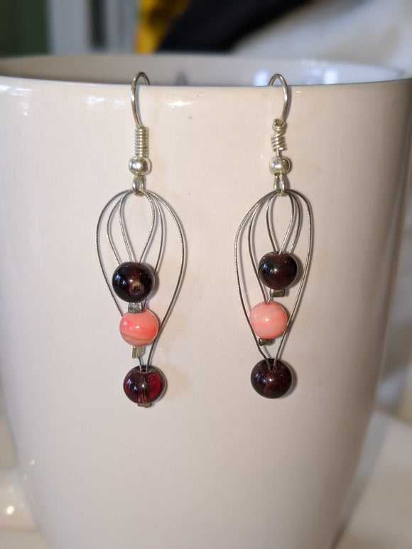 Burgundy & Peach Earrings