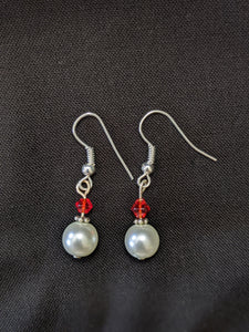 Red & White Earrings