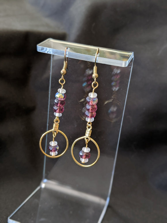 Burgundy Rondelle Earrings