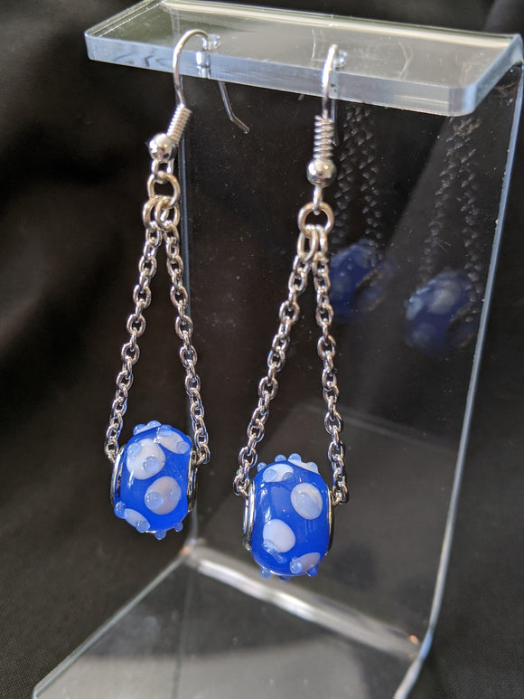 Blue Drop Charm Earrings