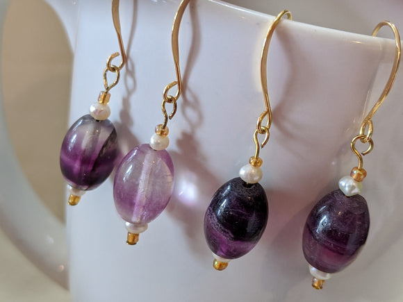Fluorite Oval Earrings