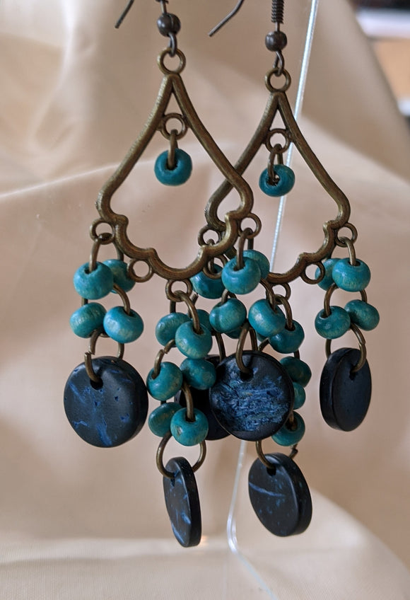 Bronze & Teal Gypsy Earrings