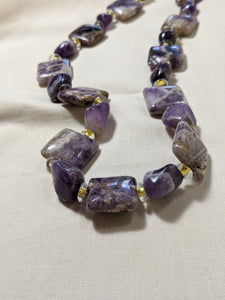 Amethyst & Gold Rondelle Necklace