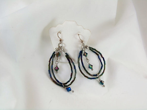 Iridescent Bugle Bead Earrings