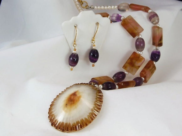 Amethyst & Citrine Shell Necklace